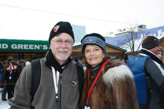 Chas St. George, Public Relations Director for the Iditarod, poses with Sen. Murkowski.