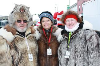 Russ and Renee Wilmot share a smile with Sen. Murkowski on Fourth Avenue.
