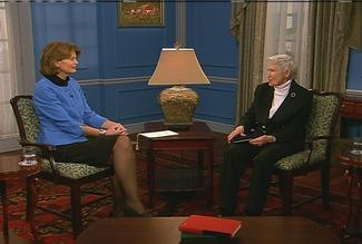 Sen. Murkowski and Ellen Campbell tape an edition of The Alaska Report that will air in May.